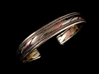 BrD157 Bracelet Tibétain Cuivre Laiton Métal Argenté