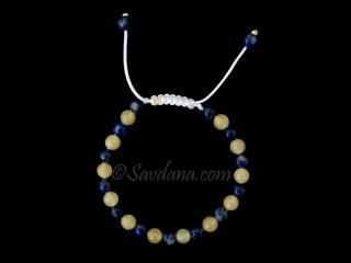 BrMala369 Bracelet Mala de Prières Tibétain Sodalite Jade Jaune. 19 cm