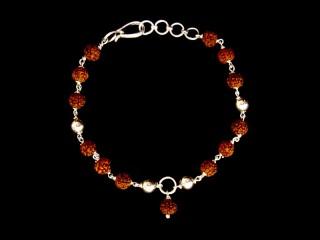BrA45 Bracelet Tibétain Argent Massif Perle de Rudraksha