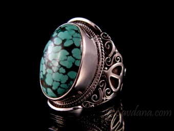 BA345 Bague Argent Massif Turquoise. Taille 64
