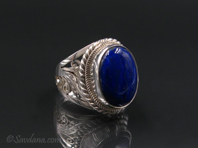 ba437 bague argent massif lapis lazuli bijou nepal. Black Bedroom Furniture Sets. Home Design Ideas