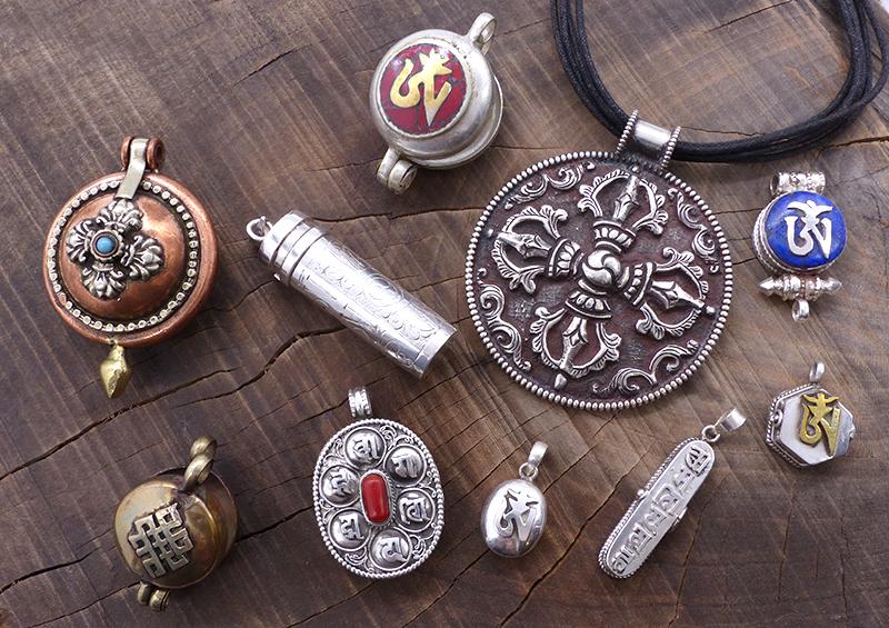 Pendentif Gau Amulette tibétain - Savdana