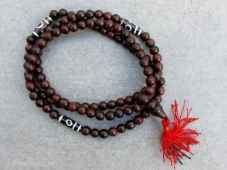 Mala119 Mala de Prières Tibétain Bois Perles Dzi