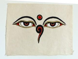 AF102 Affiche Tibétaine Papier Népalais Yeux de Bouddha