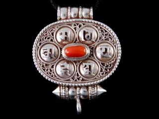 PA430 Pendentif Amulette Ghau Argent Massif Mantra