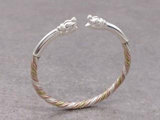 BrA119 Bracelet Tibétain Eléphant Argent Massif Cuivre Laiton