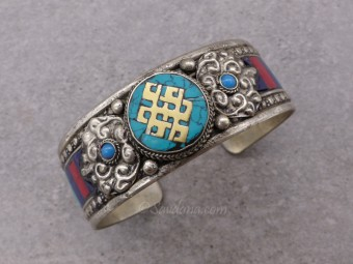BrD314 Bracelet Tibétain Noeud Sans Fin