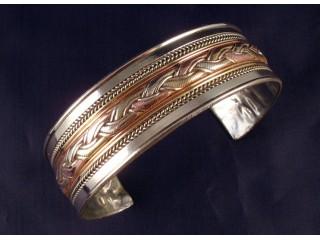BrD26 Bracelet Tibétain Cuivre Laiton Métal Argenté