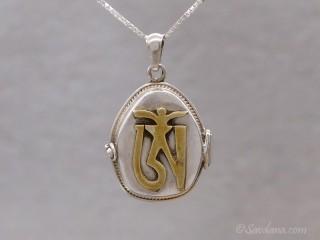 PA587 Pendentif Amulette Ghau Argent Massif Om