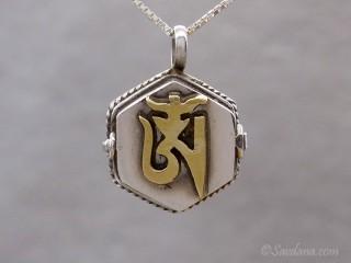 PA588 Pendentif Amulette Ghau Argent Massif Om
