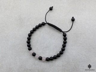 BrMala353 Bracelet Mala Onyx Quartz Rose