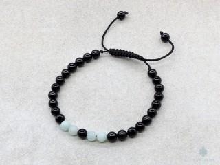 BrMala355 Bracelet Mala Onyx Amazonite
