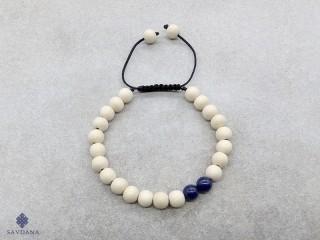 BrMala376 Bracelet Mala de Prières Tibétain Bois Lapis Lazuli. 23 cm