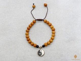 BrMala41 Bracelet Mala de Prières Tibétain Bois Onyx Yin Yang Argent Massif 17 cm