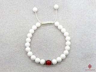 BrMala184 Bracelet Mala de Prières Tibétain Conque Cornaline