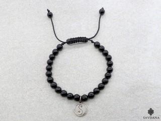BrMala332 Bracelet Mala de Prières Tibétain Onyx Yin Yang Argent Massif