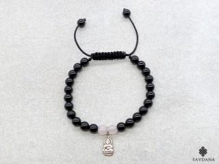 BrMala340 Bracelet Mala Onyx Quartz Rose Bouddha Argent Massif