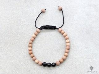 BrMala341 Bracelet Mala de Prières Tibétain Bois Onyx