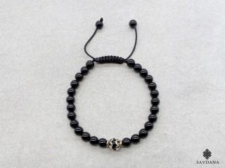 BrMala345 Bracelet Mala de Prières Tibétain Onyx