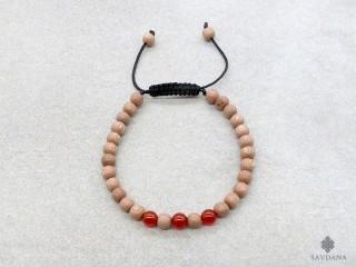 BrMala359 Bracelet Mala de Prières Tibétain Bois Cornaline