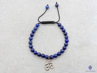 BrMala284 Bracelet Mala Lapis Lazuli Om Argent Massif. 16 cm