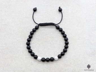 BrMala403 Bracelet Mala de Prières Tibétain Howlite Onyx. 17 cm