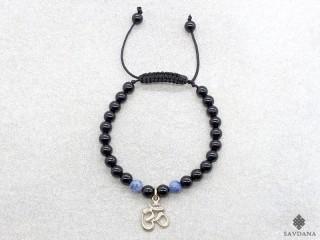 BrMala406 Bracelet Mala Onyx Sodalite Om Argent Massif. 17 cm