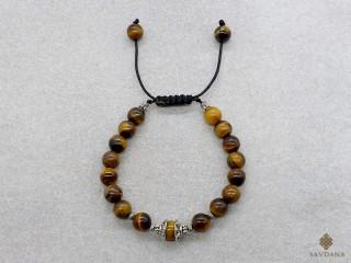 BrMala408 Bracelet Mala Oeil de Tigre. 16 cm