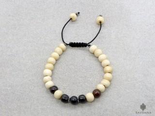 BrMala409 Bracelet Mala de Prières Tibétain Os de Buffle