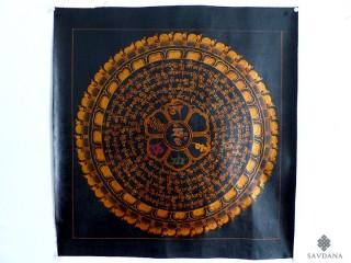 PNT21 Thangka (Peinture Tibétaine) Mandala Mantra Om
