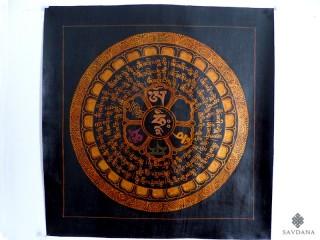 PNT22 Thangka (Peinture Tibétaine) Mandala Mantra Om