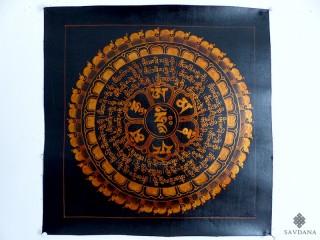 PNT23 Thangka (Peinture Tibétaine) Mandala Mantra Om