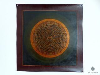 PNT28 Thangka (Peinture Tibétaine) Mandala Mantra Yeux de Bouddha