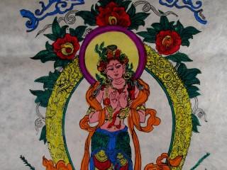 AF02 Affiche Tibétaine Papier Népalais Tara