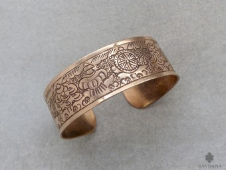 BrD358 Bracelet Tibétain Cuivre Astamangala
