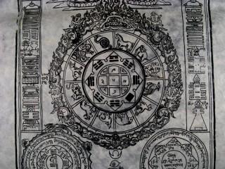AF09 Affiche Tibétaine Papier Népalais Ecritures TIbétaines