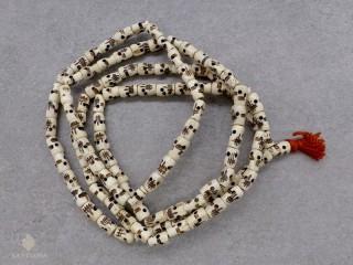 Mala143 Mala de Prières Tibétain Os de Buffle Tête de Mort