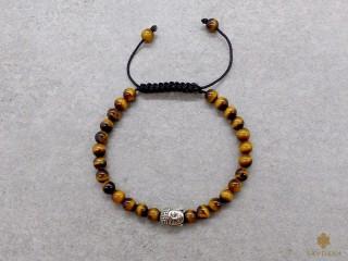 BrMala412 Bracelet Mala de Prières Tibétain Oeil de Tigre Bouddha