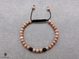 BrMala389 Bracelet Mala de Prières Tibétain Onyx Bois. 20 cm