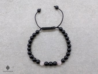 BrMala405 Bracelet Mala de Prières Tibétain Onyx Sodalite. 17 cm