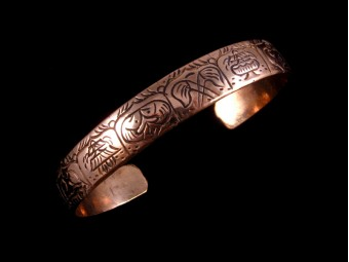 BrD94 Bracelet Tibétain Cuivre Astamangala