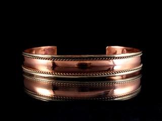 BrD121 Bracelet Tibétain Cuivre Laiton Métal Argenté