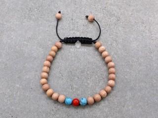 BrMala414 Bracelet Mala de Prières Tibétain Onyx Bois