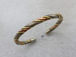 BrD384 Bracelet Tibétain Cuivre Laiton Métal Argenté