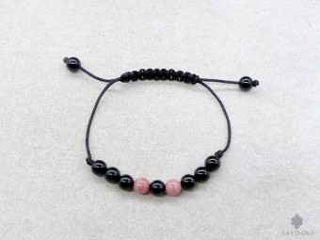 BrMala384 Bracelet Mala de Prières Tibétain Onyx Jaspe Rose