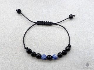 BrMala405 Bracelet Mala de Prières Tibétain Onyx Sodalite