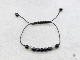 BrMala419 Bracelet Mala de Prières Tibétain Onyx