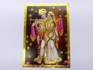 AF122 Petite Affiche / Carte du Népal Krishna et Radha