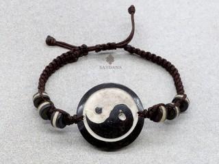 BrD385 Bracelet Tibétain Os de Buffle Yin Yang