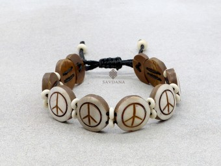 BrD387 Bracelet Tibétain Os de Buffle Signe de la Paix